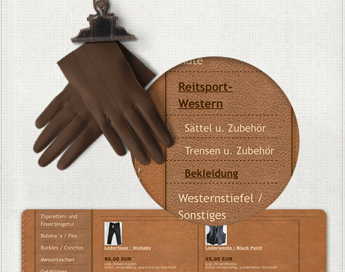 Web-Design der Navigation für den Webshop