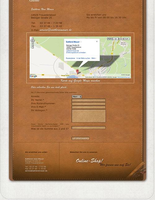 Webdesign der Kontaktseite mit Google Maps und Kontaktformular