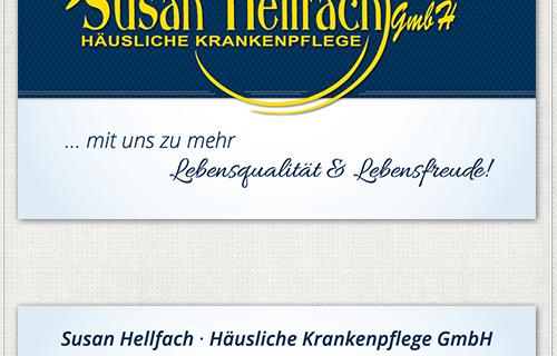 Vorderseite der Visitenkarte mit Slogan und Logo Susan Hellfach