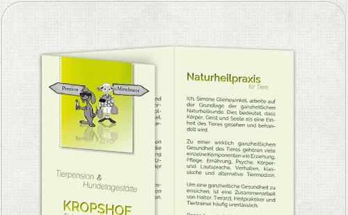 Flyer mit Urlaubs-Grafik für Hundepension Kropshof