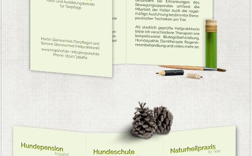 Gestaltung eines sechs-seitigen Flyers für Hundepension in Celle