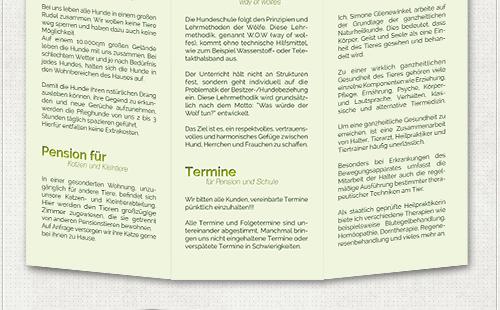 Gestaltung der Innenseiten des Flyers mit großen Hauptüberschriften