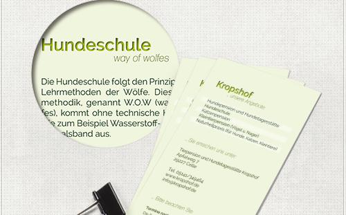 Detail des Flyer-Designs mit grünen Überschriften