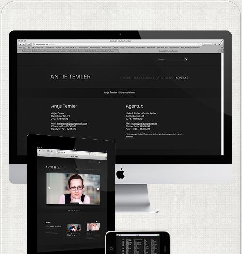 Homepage Temler auf großen und kleinem Bildschirm