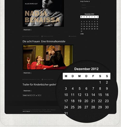 Kalender mit News der Schauspielerin Antje Temler