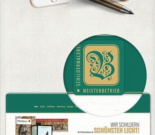 Detail des Webdesigns mit Logo auf gemusterter Hintergrundstruktur