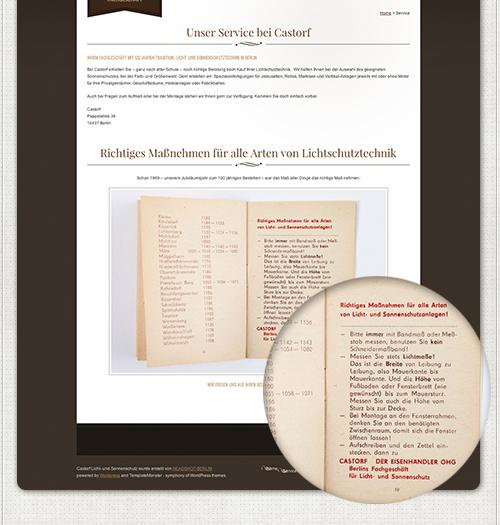 Webseite Service mit altem Büchlein