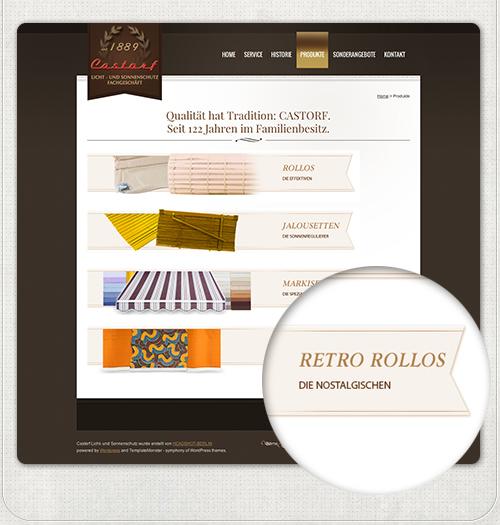 ehemalige Produkte auf der Homepage Castorf