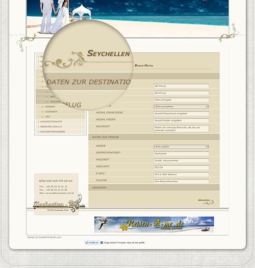 Webseite für Buchung Hochzeitsreise