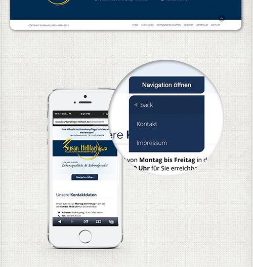 Ansicht der Navigation auf iPhone