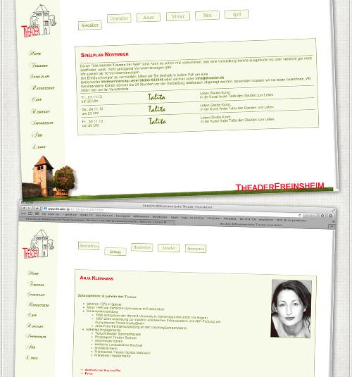 Webseiten Spielplan und Anja Kleinhans