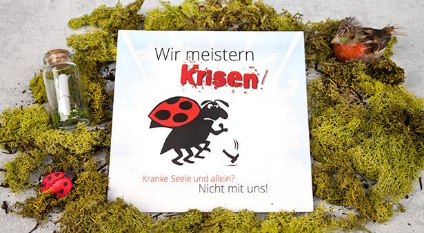 individuelle, quadratische Flyer mit Käfer und Slogan