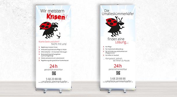 zwei individuelle Werbe-Banner für die ABZ Um-alles-kümmer-Käfer