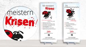 RollUp Banner mit Käfer und Slogans ansehen