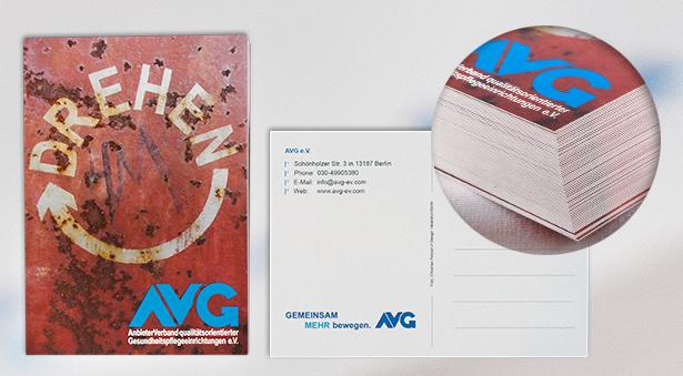 Postkarte mit Vorder- und Rückseite