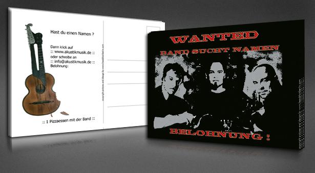 Postkarte für Namensfindungs-Aktion einer Band