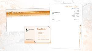 Design Word-Vorlage, Outlook-Header und Visitenkarten