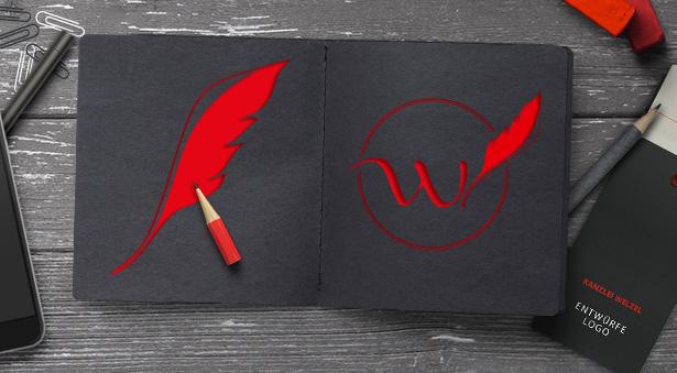 Logo-Design mit Buchstabe und Schreibfeder