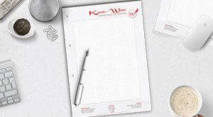 Schreibblock-Design im Kanzlei-Look