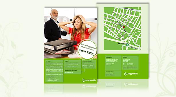 Flyer in grünem Corporate Design der Lernpyramide