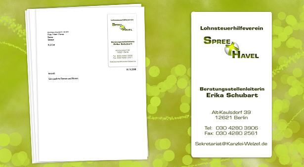 Briefpapier mit Kontaktdaten und dem neuen Logo