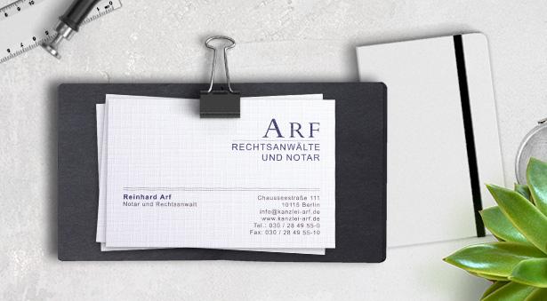 Headshot Berlin Notar Arf Visitenkarten