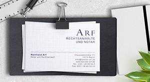 Gestaltung Visitenkarten für Arf Rechtsanwälte und Notar