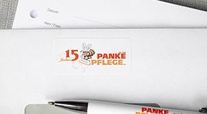 Etiketten für Briefumschläge und Werbemittel der Panke Pflege