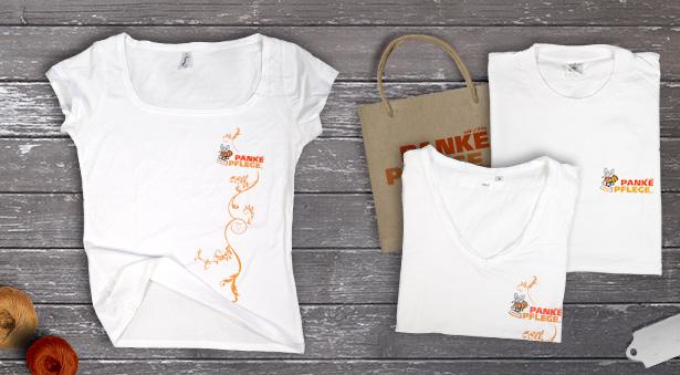 T-Shirt Design mit Ranke und Logo für Panke Pflege in Berlin Pankow