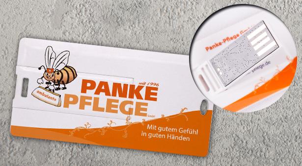flache USB-Card im Panke-Pflege Layout