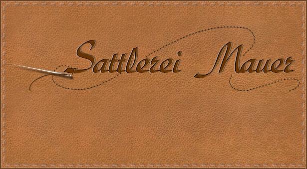Schriftzug mit Nadel und Faden für Sattlerei