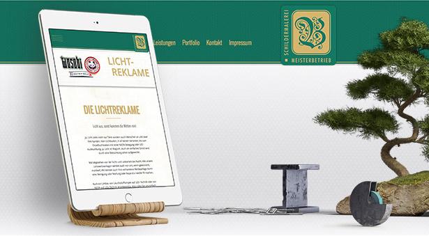 optimierte Website für Tablets, Mobile Anwendungen und große Bildschirme