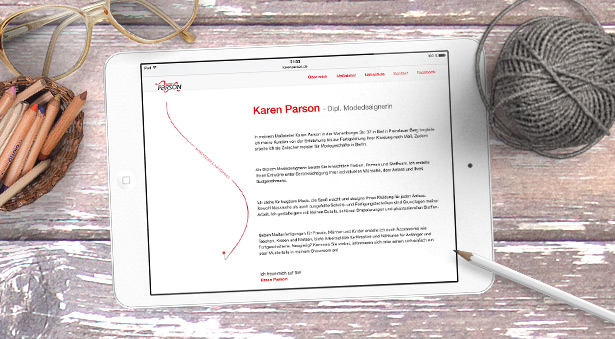 individuelles Webdesign in rot weiß für Schneiderei in Berlin Pankow