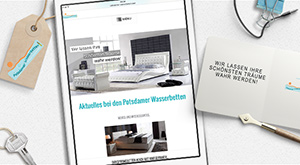 türkisfarbenes, responsive Wordpress Webdesign für Potsdamer Wasserbetten